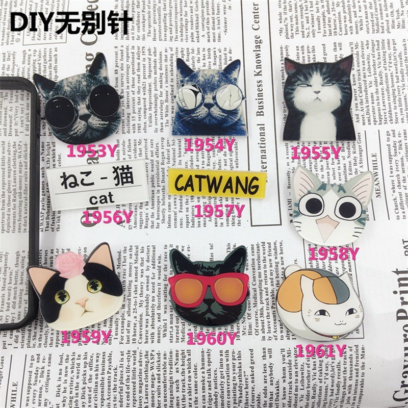 Acrylic Badge Broche HARAJUKU Brooch cat Accessory for Scarf Pin Up Women Bag Collar Tips Punk Jewelry  XZ11
