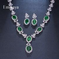 Emmaya Brand Fashion Luxury Cubic Zirconia Bridal Jewelry Sets Green Oval Crystal Rhinestone Party Wedding Jewelry Necklace Sets