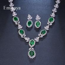 Emmaya Conjuntos de joyería de lujo para novia, Circonia cúbica, cristal verde ovalado, diamantes de imitación, fiesta, boda, collar de joyería