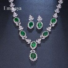 Emmaya מותג אופנה יוקרה מעוקב Zirconia כלה תכשיטי סטים ירוק סגלגל קריסטל ריינסטון מסיבת חתונת תכשיטי שרשרת סטים