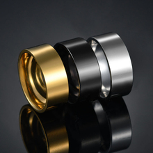aiboduo 8mm Classic Wedding Ring Men Fashion Simple Stainless Steel Rings Black Geometric Party Gift For R00008