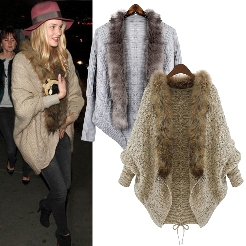 Clearance Fur Collar Batwing Sleeve Cardigan Poncho Women Knitted Sweater Mujer Oversized Jacket Winter Coat Sweaters Female