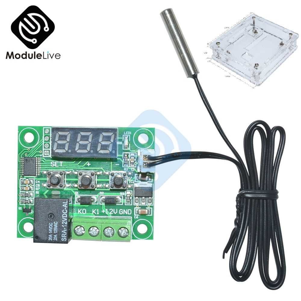 DC 12V W1209 LED Digital Thermostat Suhu Kontrol Thermometer Thermo Controller Switch Modul NTC Sensor Bening Case Kotak