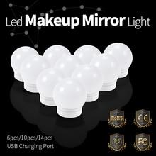 купить 12V Makeup Mirror Vanity LED Light Bulbs Kit Hollywood Bathroom Wall Lamp Adjustable Brightness Make up Lighting Cosmetic Lights дешево