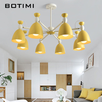 BOTIMI LED Chandeliers For Living Room Hanging Chandelier in Green Lustres Yellow Dining Table Chandelier Lights Kitchen Lamps