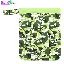 [Bestoice] 1PC Wet Bag Washable Reusable Cloth diaper Nappies Bags Waterproof Swim Sport Travel crinkle Carry bag Size: 33x41cm