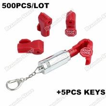 500 шт. EAS Противоугонный Магнитный розничный блокировщик замка дисплей крюк стопорный замок 6 мм красный+ 5 шт деташер ключи