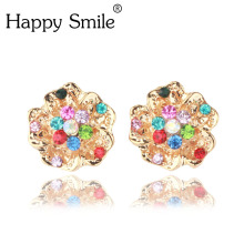Kroean Delicate Rhinestone Flower Crystal No Piercing Clip Earing Cuff Wrap Earrings For Women Statement Jewelry