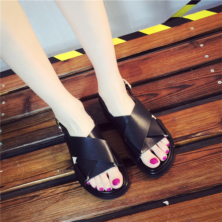 Genuine Leather Women Sandals Gladiator Summer Shoes Flat Platform Black Woman Casual Shoes Peep Toes Beach