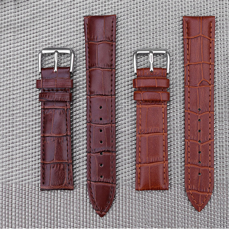 Genuine Leather Watch Strap Fashion For Men And Women Buckle Flat Wristwatch Band Long Watch Strap 18mm 22mm 24mm Accessories new arrival 24mm orange genuine real ostrich skin leather watch band strap bracelets for men s wristwatch