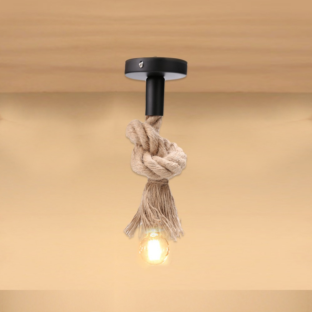 Vintage Rope Pendant Light Lamp E27 Base Personality Industrial Lamp Base American Style For Living Room Without Bulb #10-25 pendant light vintage style lamp european industrial wind e27 base droplight for restaurant home decoration guest room led bulb