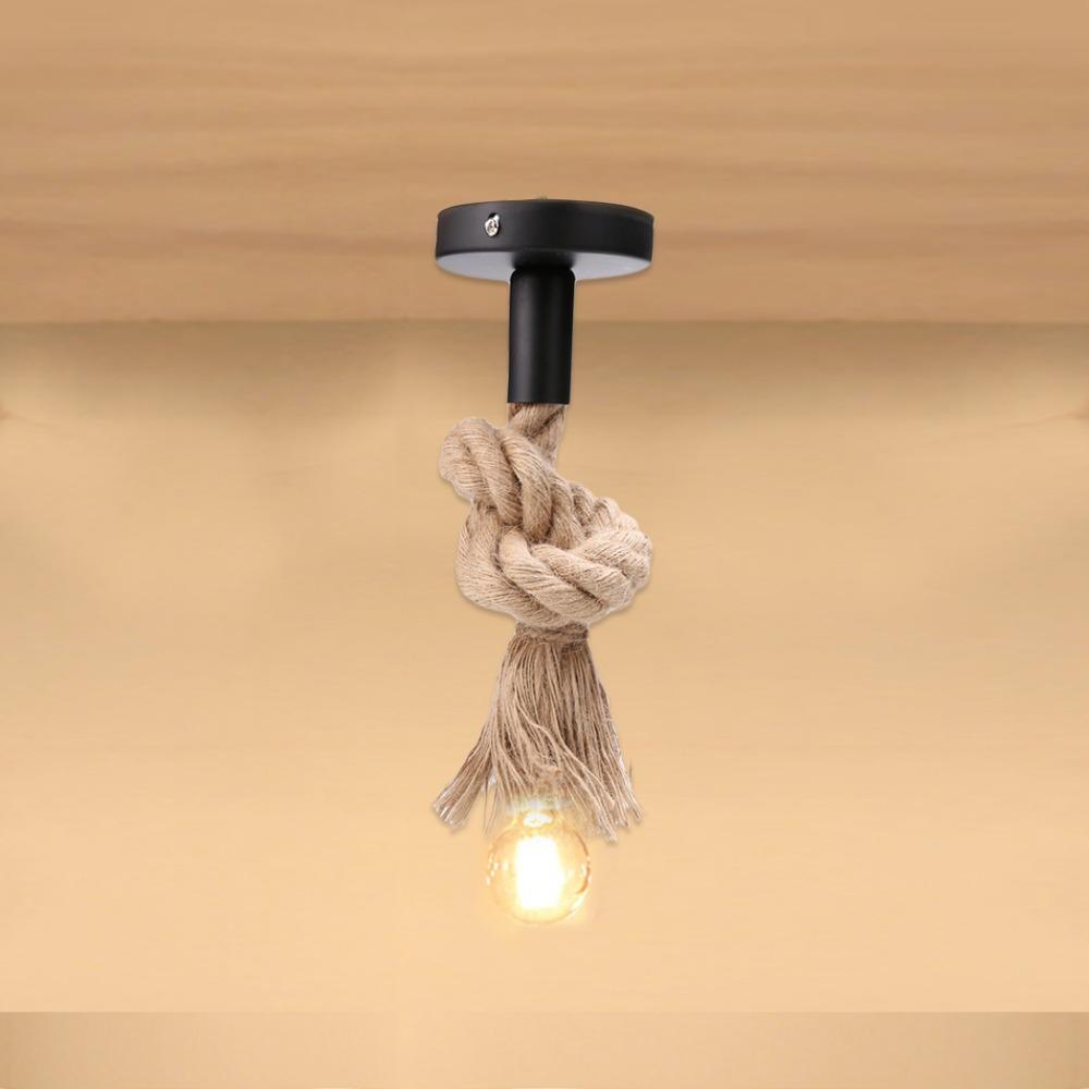 Vintage Seil Pendelleuchte Lampe E27 Persnlichkeit Industriellen Lampensockel Amerikanischen Stil Fr Wohnzimmer Ohne Leuchtmittel 10