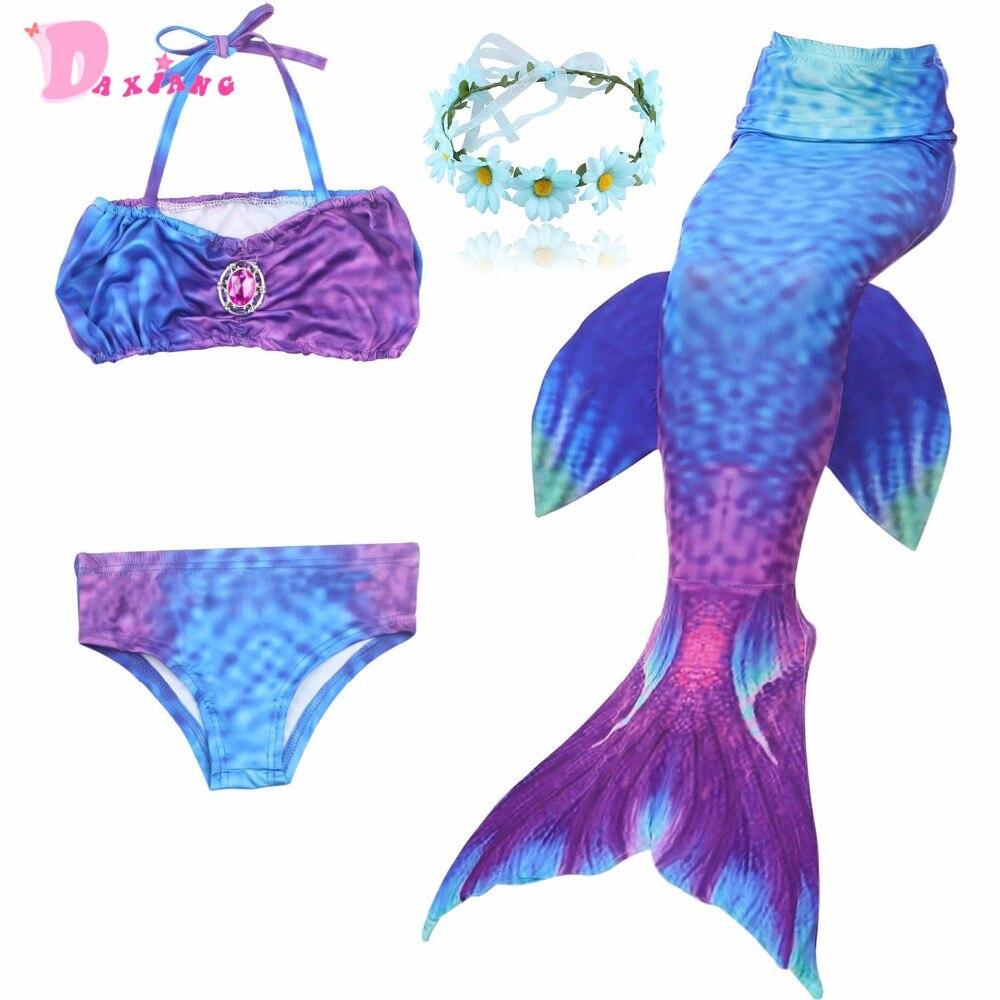 Cute Girls Bikini Set Swimwear Mermaid Tail With Fin Princess Dress Split Swimmable Bathing Suit Beachwear Girls  2-12Y