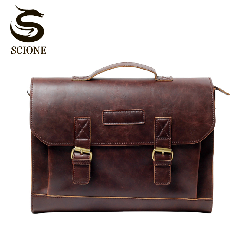 Men Casual Briefcase Business Shoulder Bag PU Leather Messenger Bags Computer Laptop Handbag Bag Men's Travel Bags School Tote tcart drl headlights with turn signal lights for ford mondeo 2013 2016 daytime running light auto led day driving fog lamp page 7