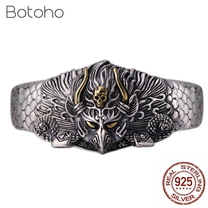 100% 925 пробы Серебряный браслет для Для мужчин Для женщин ручной работы Винтаж Бог птица открытие браслет модные Тайский серебряные ювелирны