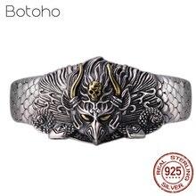 100% 925 Sterling Silver Bracelet for Men Women Handmade Vintage God bird Opening Bracelet Bangle Fashion Thai silver Jewelry цена в Москве и Питере