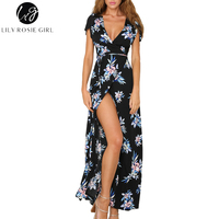 Lily Rosie Girl Sexy V Neck Boho Floral Print Women Black Long Dresses Short Sleeve Wrap