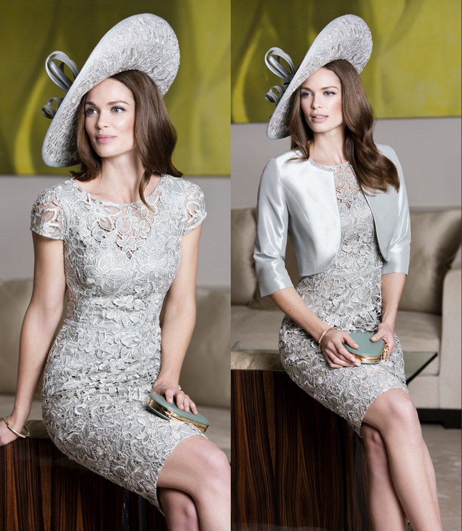 2caa3f5347f Short Sheath Silver Gray Mother Of The Bride Dresses Suits With Jacket 2  Pieces Lace Taffeta Mother s Formal Dresses For Wedding