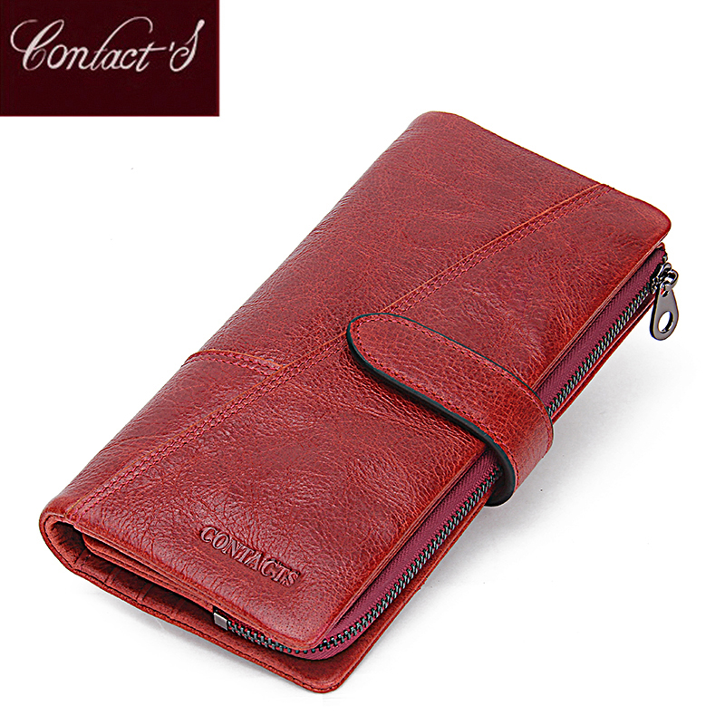Contact's Women Wallets Brand Design High Quality Genuine Leather Wallet Female Hasp Fashion Dollar Price Long Purse Card Holder