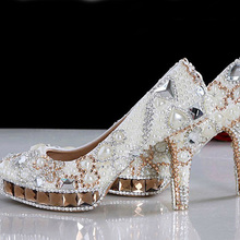 White Ivory Crystal Pearl Round Toe Bridal Wedding Shoes Diamond High Heel Women Dress Shoes Gorgeous