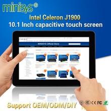 Minisys прочный промышленный планшетный ПК Intel J1900 2 Lan настольный компьютер все в одном 10,1 ''емкостный сенсорный экран для Windows 10