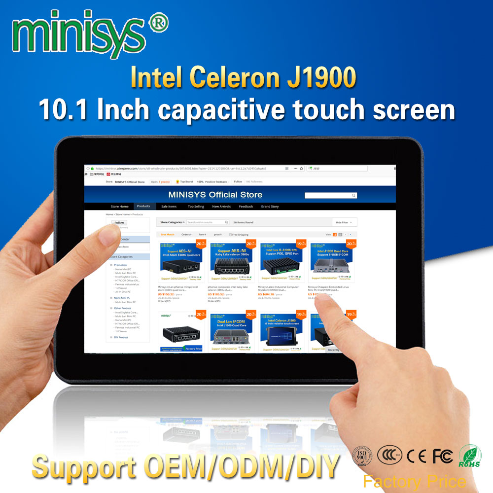 Minisys Rugged Industrial Tablet PC Intel J1900 2 Lan Desktop All In One Computer 10.1'' Capacitive Touch Screen For Windows 10