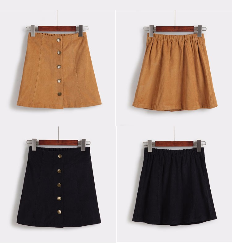 Saia 2016 Autumn vintage fashion corduroy high waist sexy mini skirt winter short a line skirts black gray casual skirts A802 i