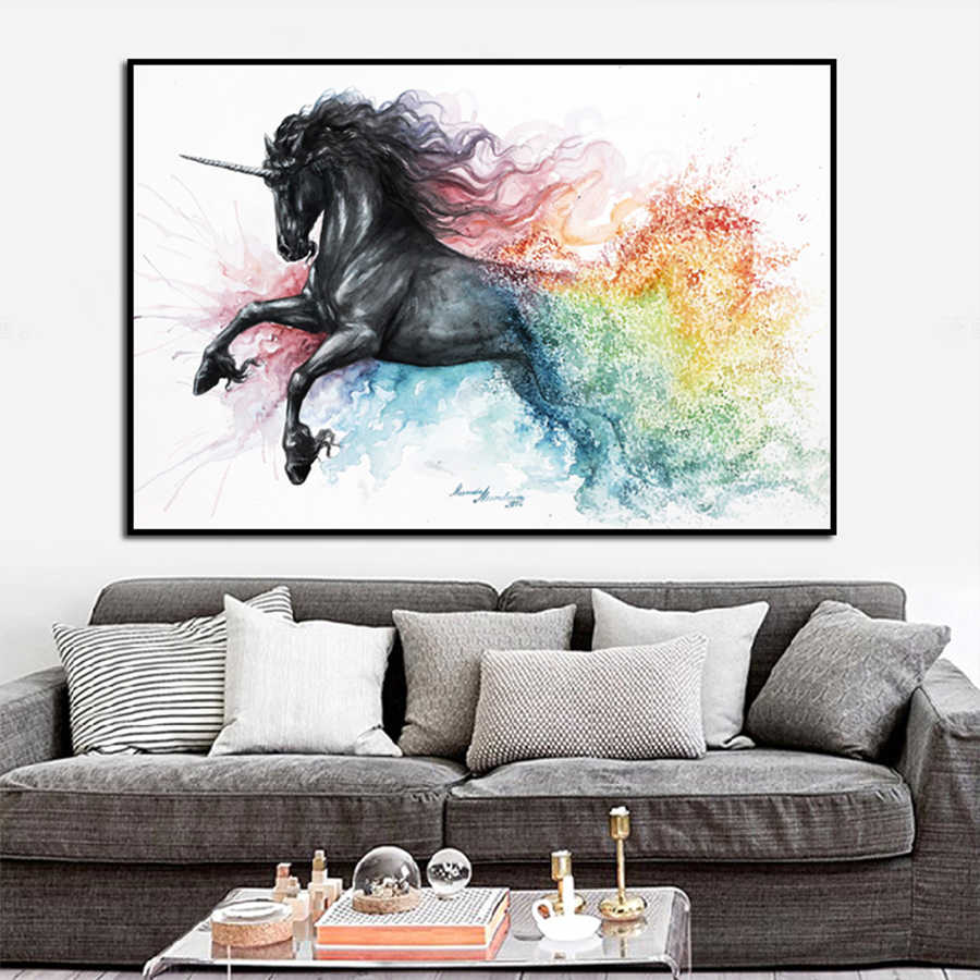 Beautiful Unicorn Black Horse Canvas Oil Painting Abstract Animals Wall Art Pictures Posters and Prints For Home Room Decoration