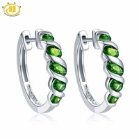 Hutang Women's Clip Earrings 1.77ct Natural Chrome Diopside Solid 925 Sterling Silver Green Gemstone Fine Classic Jewelry New