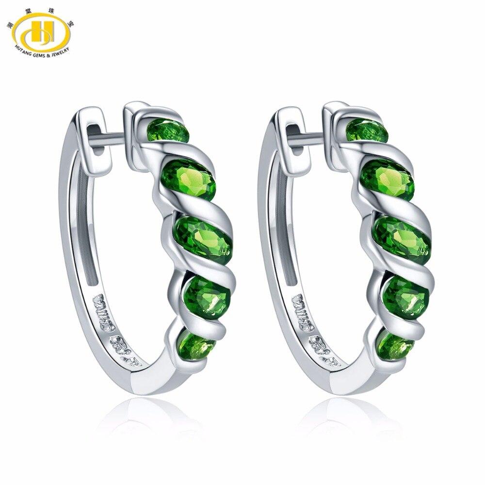 Hutang femmes Clip boucles d'oreilles 1.77ct Chrome naturel Diopside solide 925 Sterling argent vert pierre gemme Fine classique bijoux nouveau
