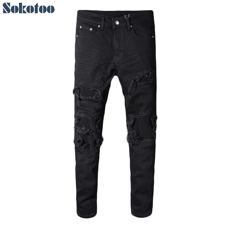 Sokotoo Men's black patchwork stretch denim biker   jeans   for motorcycle Slim fit skinny ripped pencil pants
