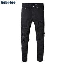 Sokotoo Men's black patchwork stretch denim biker jeans for motorcycle Slim fit skinny ripped pencil pants