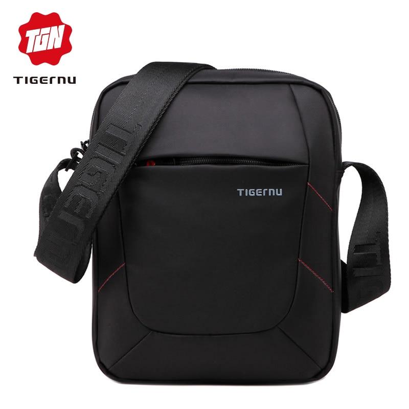 Tigernu Brand Shoulder Bag for women MessengerBag Men 10 Inch Black Men bag Crossbody Bags Small Handbag Casual Business цена