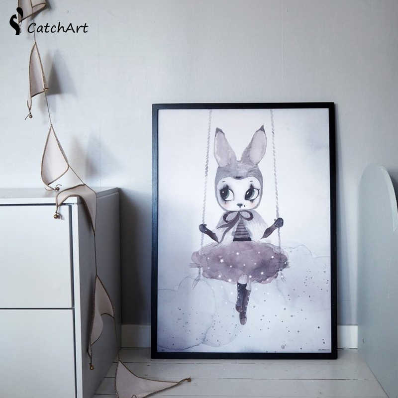 Nordic Mask Rabbit Girl On Moon Angel Cartoon Canvas Painting Wall Pictures for Kids Nursery Room Decoration Wall Poster