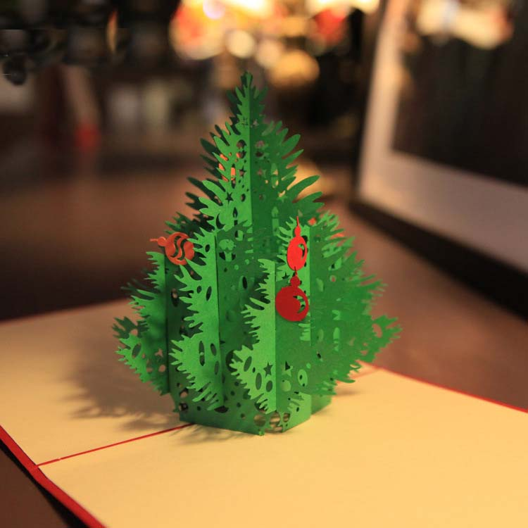 5pcs/lot 3D Christmas Tree Pop UP Card Foldable Wedding Invitations ...