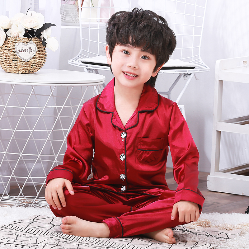 New Spring Silk Pajamas Suit for Children Long Sleeve Pants Set Kids Baby Clothing Girls Sleepwear Set Comfortable Boys LoungeNew Spring Silk Pajamas Suit for Children Long Sleeve Pants Set Kids Baby Clothing Girls Sleepwear Set Comfortable Boys Lounge
