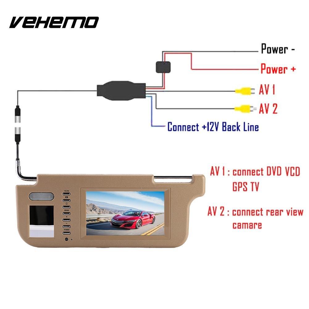 Vehemo 7 TFT LCD Sunvisor View Monitor DVD/VCD/GPS/TV Screen Car Sun Visor Monitor Durable Rear View Camera Car DVD Monitor car sun visor 7 lcd dvd media player with fm av in