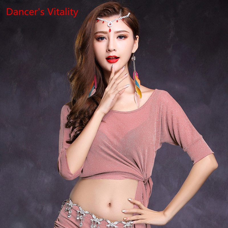Belly Dance Costume Mesh Short Sleeves Belly Dance Jacket For Women Belly Dance Exercise Top 7kinds Of Colors