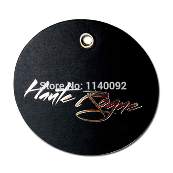 customized clothing hang tag/garment black matte paper tags/cardboard paper tag with silver embossed logo/round label printing