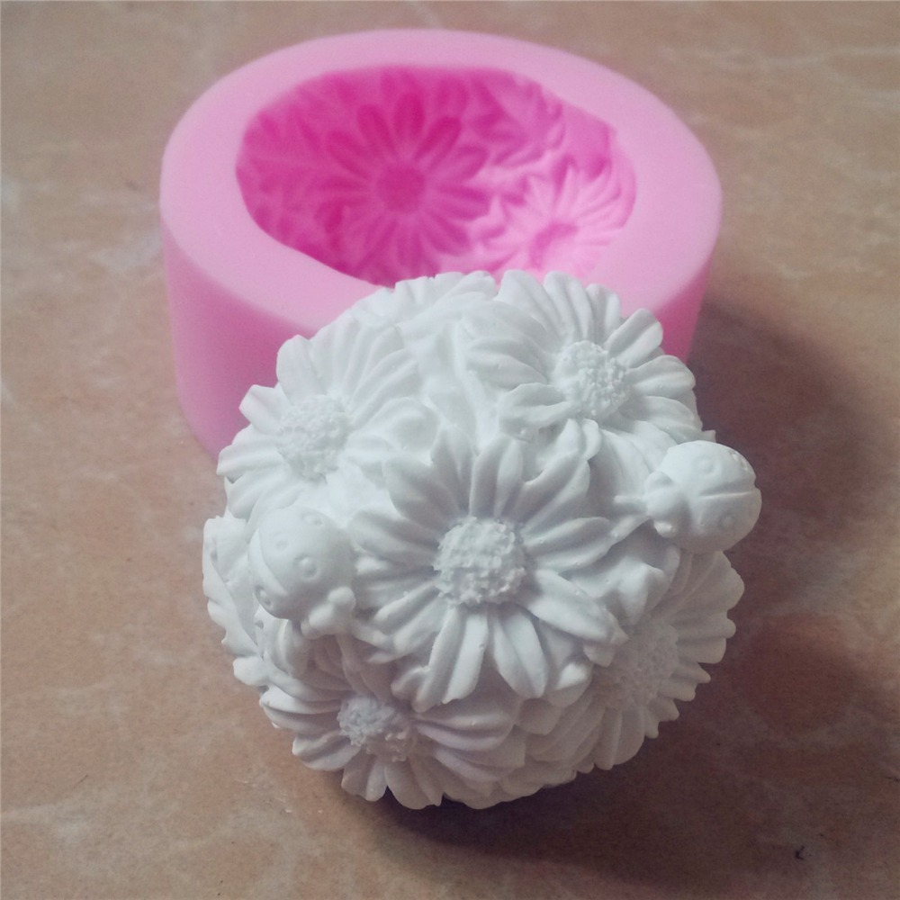 Great Mold 3d Flower Round Silicone Soap Mold Candle Mold
