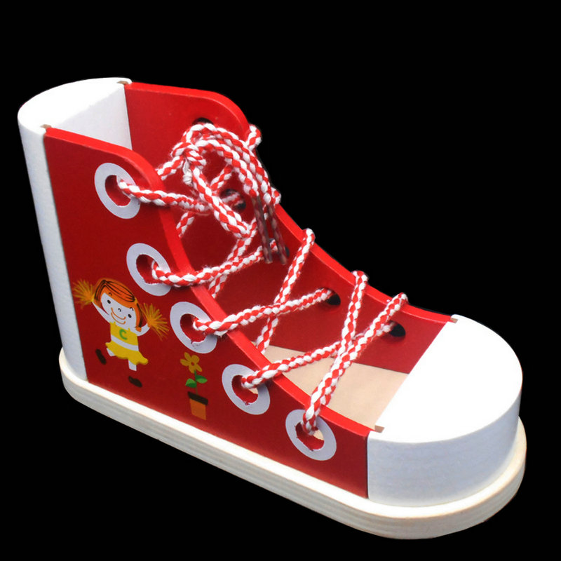 Wood Scale Models Shoes Kids Toys Early Head Start Training Shoes Childrens Puzzle Toy Romantic Baby Tie Shoelace Wooden Toy