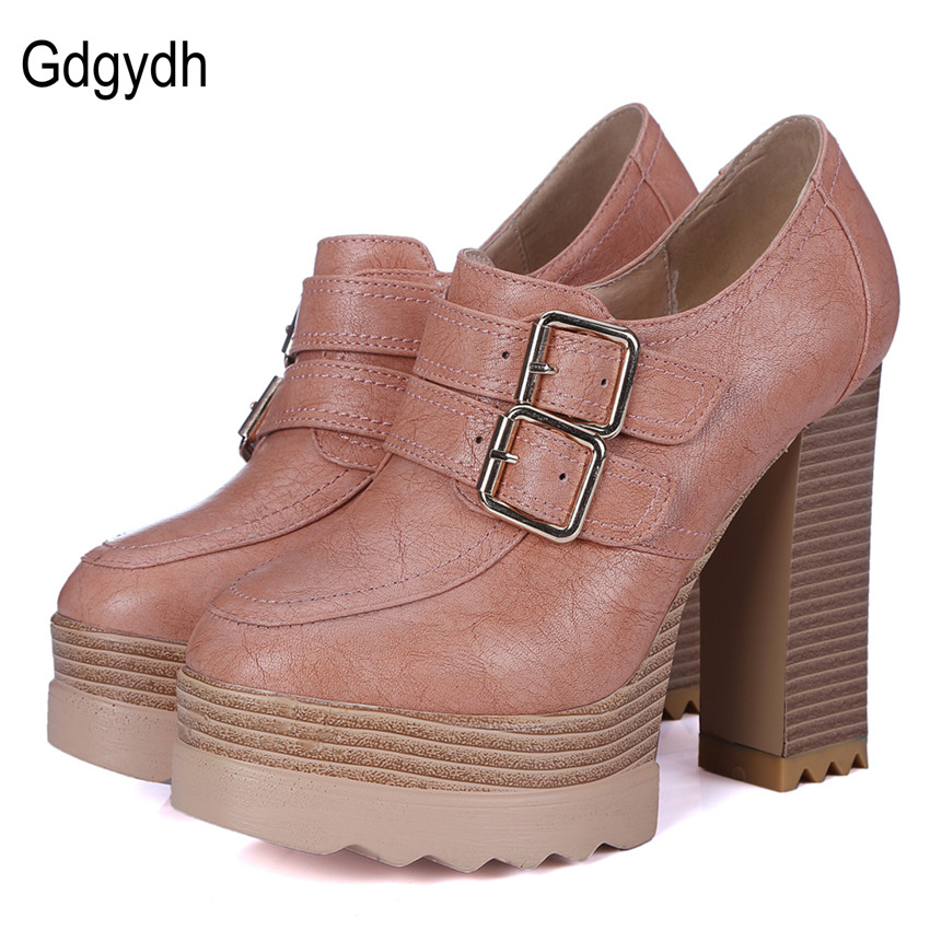 ФОТО Gdgydh 2017 New Spring Autumn Thick High Heeled Pumps Woman Round Toe Lacing Female Platform Shoes Casual Office Lady Shoes 42