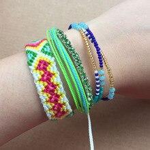 4pcs Bracelet Set Handmade Green Weave Braided Friendship Bracelets Women Crystal Rise Beads Multi Layers Bohemian Jewelry