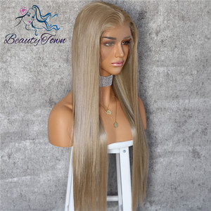 Image 3 - BeautyTown שנהב בלונד 13x6 משלוח חלק Futura ללא סבך עמיד בחום שיער יומי חתונה שכבה סינטטי תחרה מול פאה