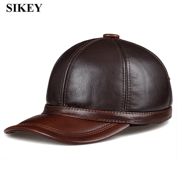 HL097  genuine leather men baseball cap hat CBD high quality  men's real leather adult solid adjustable hats caps