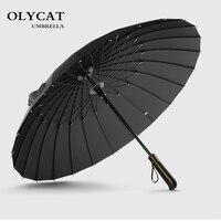 Лидер продаж бренд дождь зонтик для мужчин качество 24 К к сильный Ветрозащитный стекловолокно рамки из дерева, с длинной ручкой женщин's ...