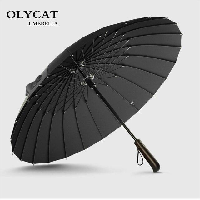 Лидер продаж бренд дождь зонтик для мужчин качество 24 К к сильный Ветрозащитный стекловолокно рамки из дерева, с длинной ручкой женщин's Parapluie