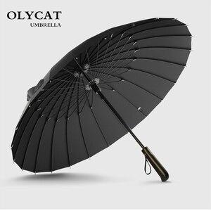 Image 1 - 뜨거운 판매 브랜드 비 우산 남자 품질 24K 강한 Windproof Glassfiber 프레임 나무 긴 손잡이 우산 여성 Parapluie