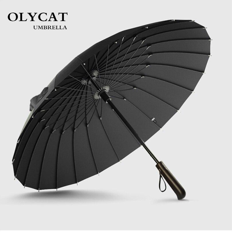 Heißer Verkauf Marke Regen Regenschirm Männer Qualität 24 karat Starke Winddicht Glasfaser Rahmen Holz Langen Griff Regenschirm frauen Parapluie