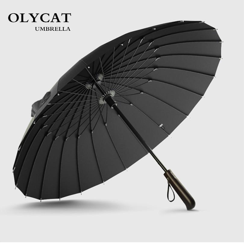 Venta caliente marca lluvia paraguas hombres calidad 24 K viento fuerte fibra Marcos madera de mango largo paraguas mujer parapluie